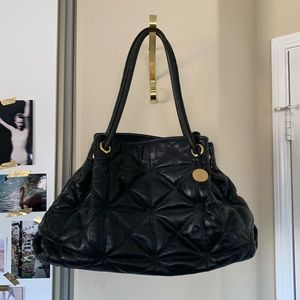FURLA BLACK & GOLD QUILTED DRAWSTRING LEATHER BAG